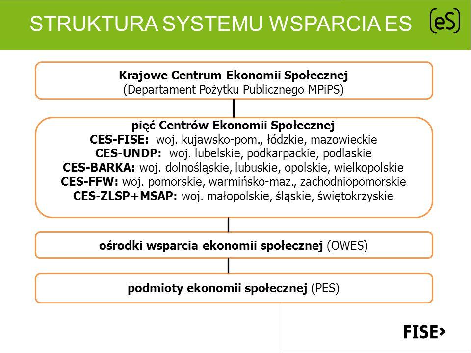 STRUKTURA SYSTEMU WSPARCIA ES Krajowe Centrum Ekonomii Społecznej (Departament Pożytku Publicznego MPiPS) pięć Centrów Ekonomii Społecznej CES-FISE: w