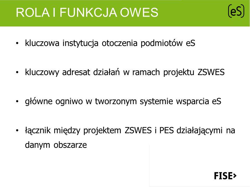 ROLA I FUNKCJA OWES kluczowa instytucja otoczenia podmiotów eS kluczowy adresat działań w ramach projektu ZSWES główne ogniwo w tworzonym systemie wsp