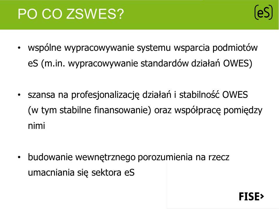 PO CO ZSWES? wspólne wypracowywanie systemu wsparcia podmiotów eS (m.in. wypracowywanie standardów działań OWES) szansa na profesjonalizację działań i