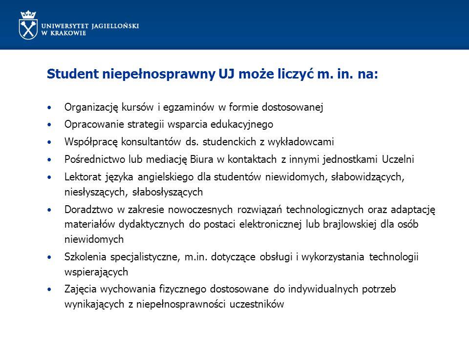 Student niepełnosprawny UJ może liczyć m. in.