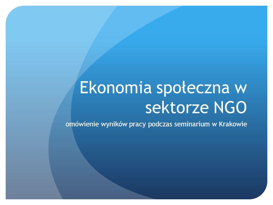 Ekonomia społeczna w sektorze NGO omówienie wyników pracy podczas seminarium w Krakowie