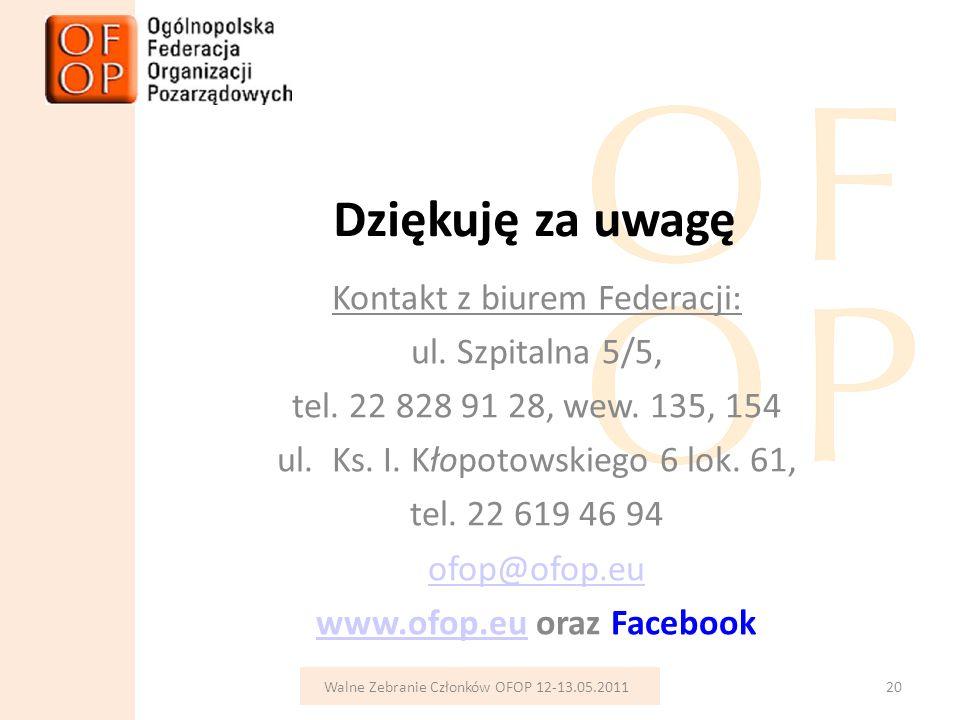 Dziękuję za uwagę Kontakt z biurem Federacji: ul.Szpitalna 5/5, tel.