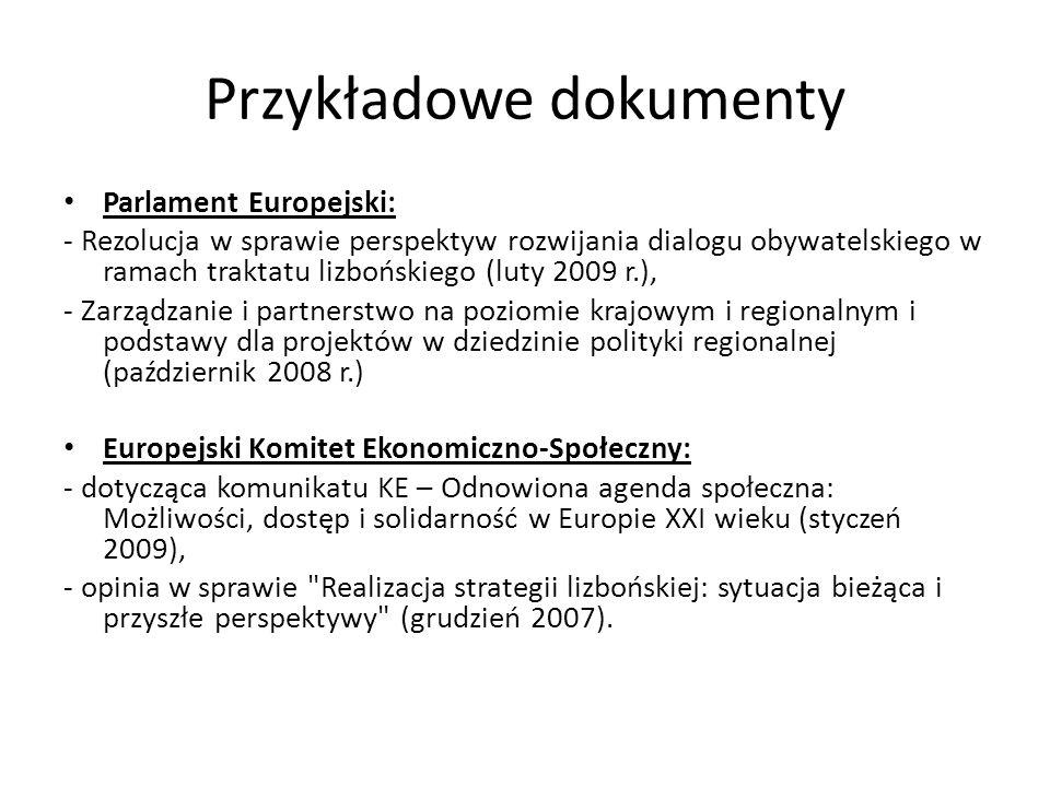 Przykładowe dokumenty Parlament Europejski: - Rezolucja w sprawie perspektyw rozwijania dialogu obywatelskiego w ramach traktatu lizbońskiego (luty 20