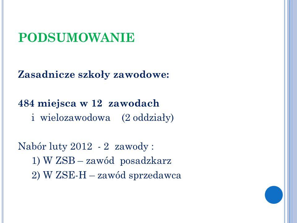 PODSUMOWANIE Zasadnicze szkoły zawodowe: 484 miejsca w 12 zawodach i wielozawodowa (2 oddziały) Nabór luty 2012 - 2 zawody : 1) W ZSB – zawód posadzka
