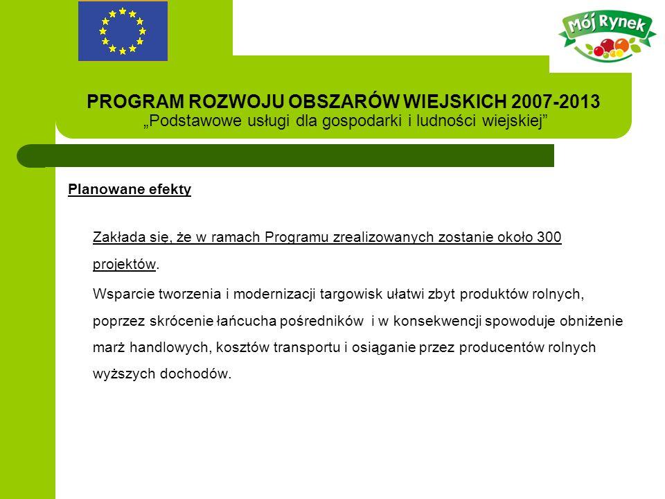 PROGRAM ROZWOJU OBSZARÓW WIEJSKICH 2007-2013 Podstawowe usługi dla gospodarki i ludności wiejskiej Planowane efekty Zakłada się, że w ramach Programu zrealizowanych zostanie około 300 projektów.
