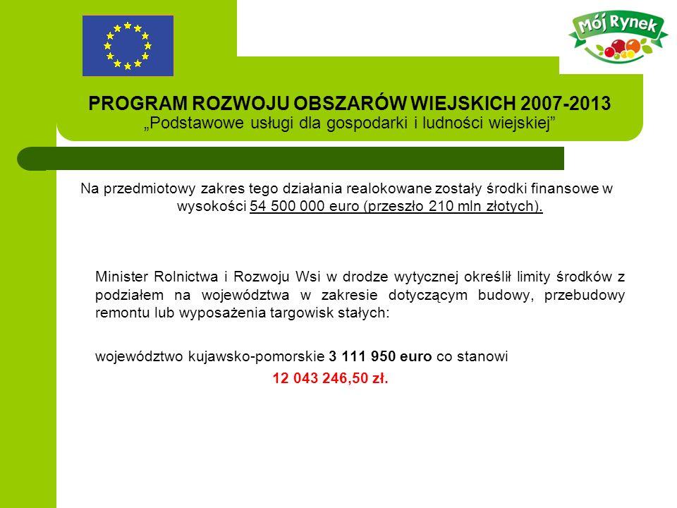 PROGRAM ROZWOJU OBSZARÓW WIEJSKICH 2007-2013 Podstawowe usługi dla gospodarki i ludności wiejskiej Na przedmiotowy zakres tego działania realokowane zostały środki finansowe w wysokości 54 500 000 euro (przeszło 210 mln złotych).