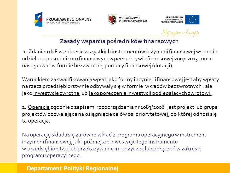 Departament Polityki Regionalnej Zasady wsparcia pośredników finansowych 1. Zdaniem KE w zakresie wszystkich instrumentów inżynierii finansowej wsparc