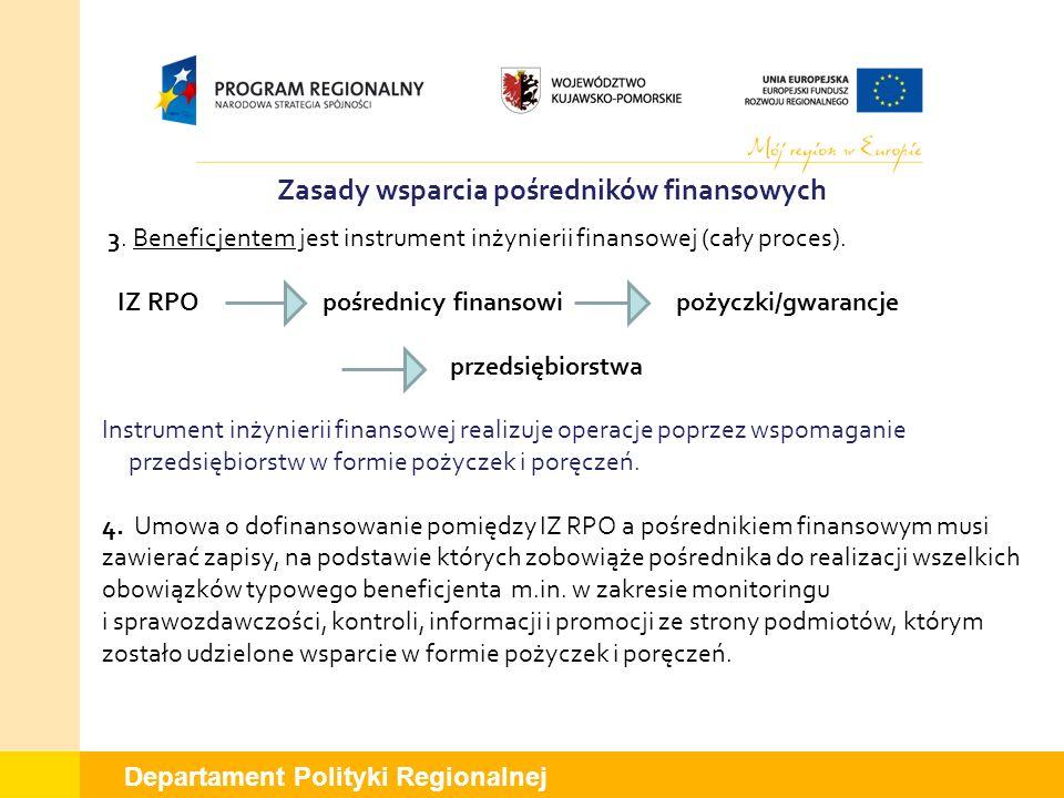 Departament Polityki Regionalnej Zasady wsparcia pośredników finansowych 3. Beneficjentem jest instrument inżynierii finansowej (cały proces). IZ RPO