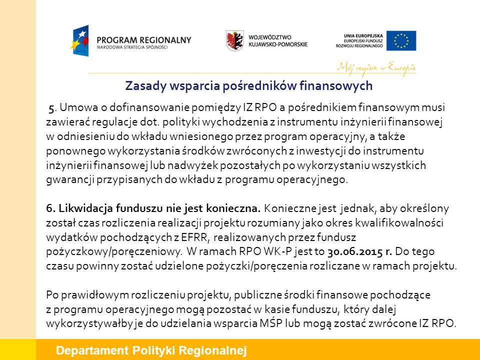 Departament Polityki Regionalnej Zasady wsparcia pośredników finansowych 5. Umowa o dofinansowanie pomiędzy IZ RPO a pośrednikiem finansowym musi zawi