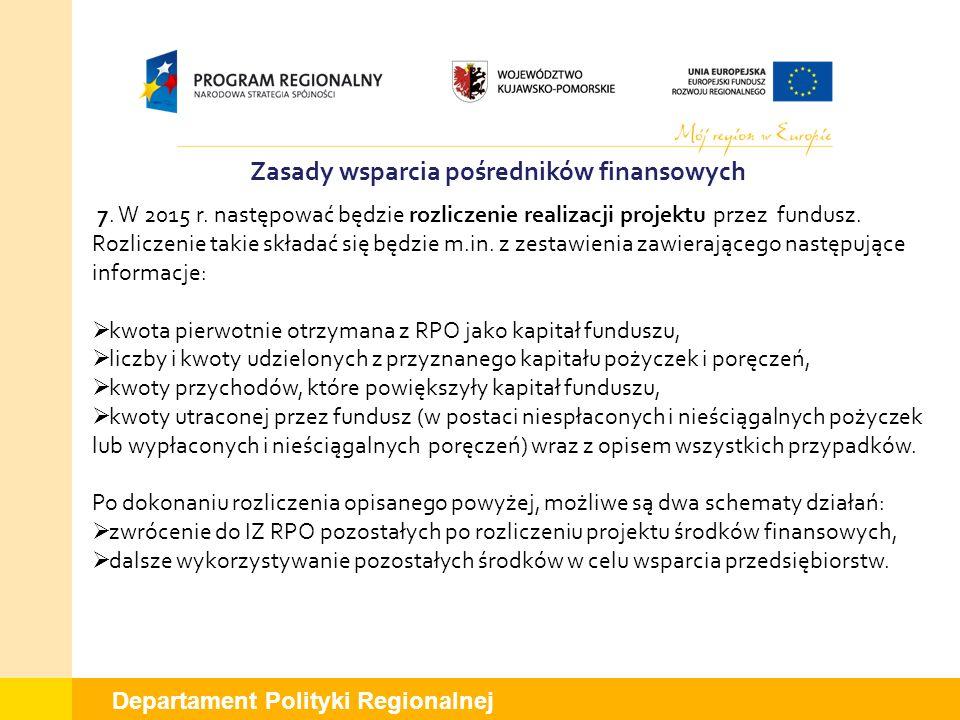 Departament Polityki Regionalnej Zasady wsparcia pośredników finansowych 7. W 2015 r. następować będzie rozliczenie realizacji projektu przez fundusz.