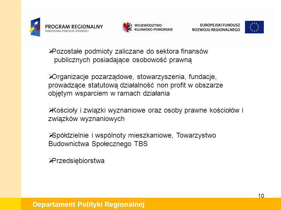 10 Departament Polityki Regionalnej Pozostałe podmioty zaliczane do sektora finansów publicznych posiadające osobowość prawną Organizacje pozarządowe,