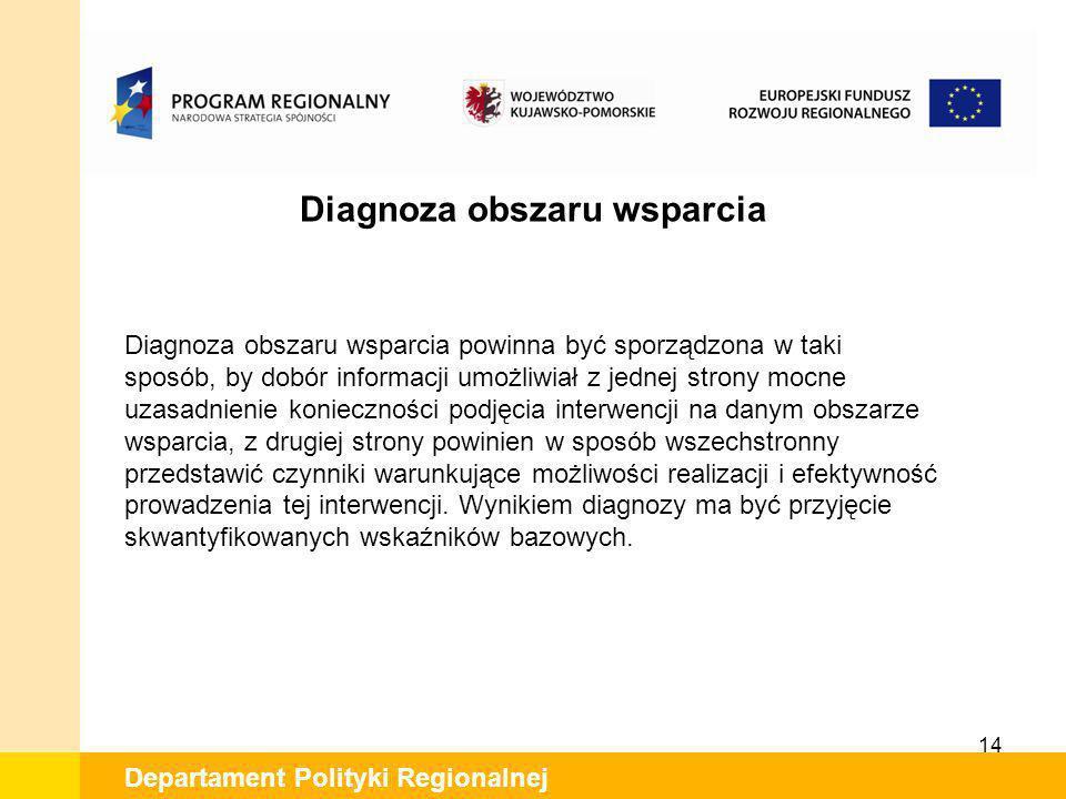 14 Departament Polityki Regionalnej Diagnoza obszaru wsparcia Diagnoza obszaru wsparcia powinna być sporządzona w taki sposób, by dobór informacji umo