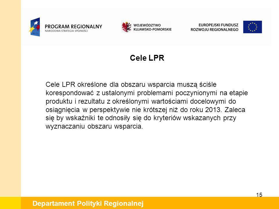 15 Departament Polityki Regionalnej Cele LPR Cele LPR określone dla obszaru wsparcia muszą ściśle korespondować z ustalonymi problemami poczynionymi n
