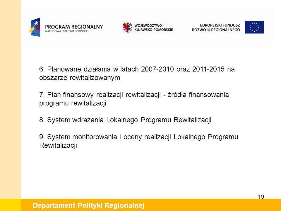19 Departament Polityki Regionalnej 6. Planowane działania w latach 2007-2010 oraz 2011-2015 na obszarze rewitalizowanym 7. Plan finansowy realizacji