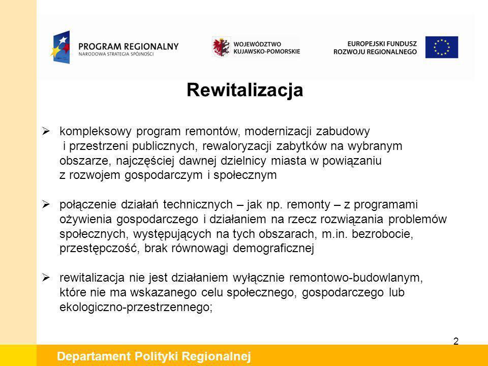 2 Departament Polityki Regionalnej Rewitalizacja kompleksowy program remontów, modernizacji zabudowy i przestrzeni publicznych, rewaloryzacji zabytków