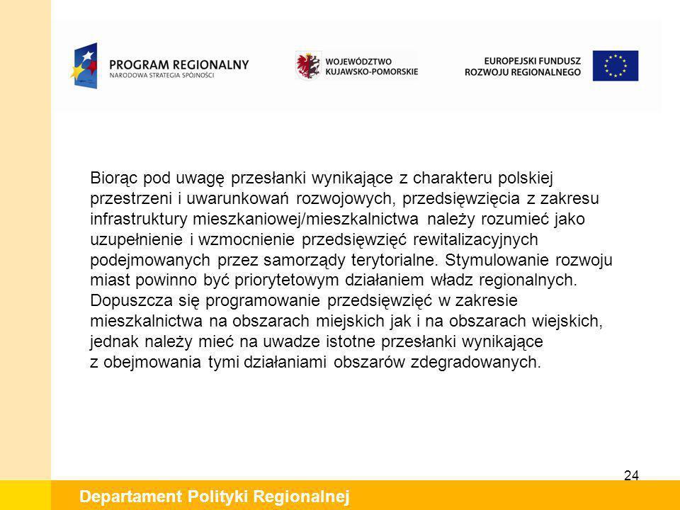24 Departament Polityki Regionalnej Biorąc pod uwagę przesłanki wynikające z charakteru polskiej przestrzeni i uwarunkowań rozwojowych, przedsięwzięci