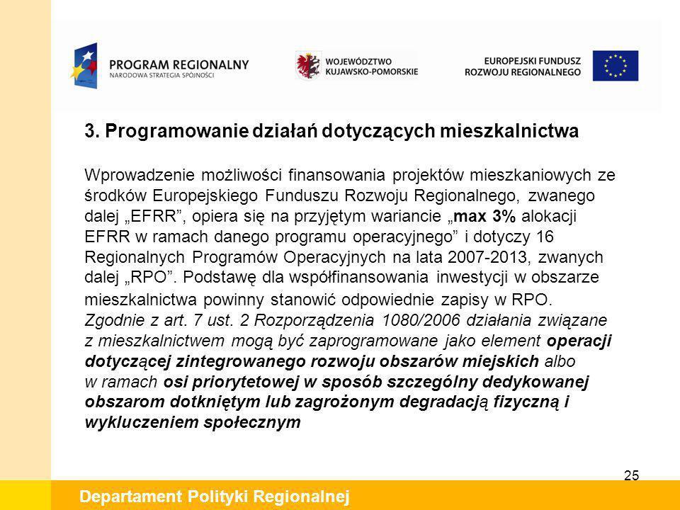 25 Departament Polityki Regionalnej 3. Programowanie działań dotyczących mieszkalnictwa Wprowadzenie możliwości finansowania projektów mieszkaniowych
