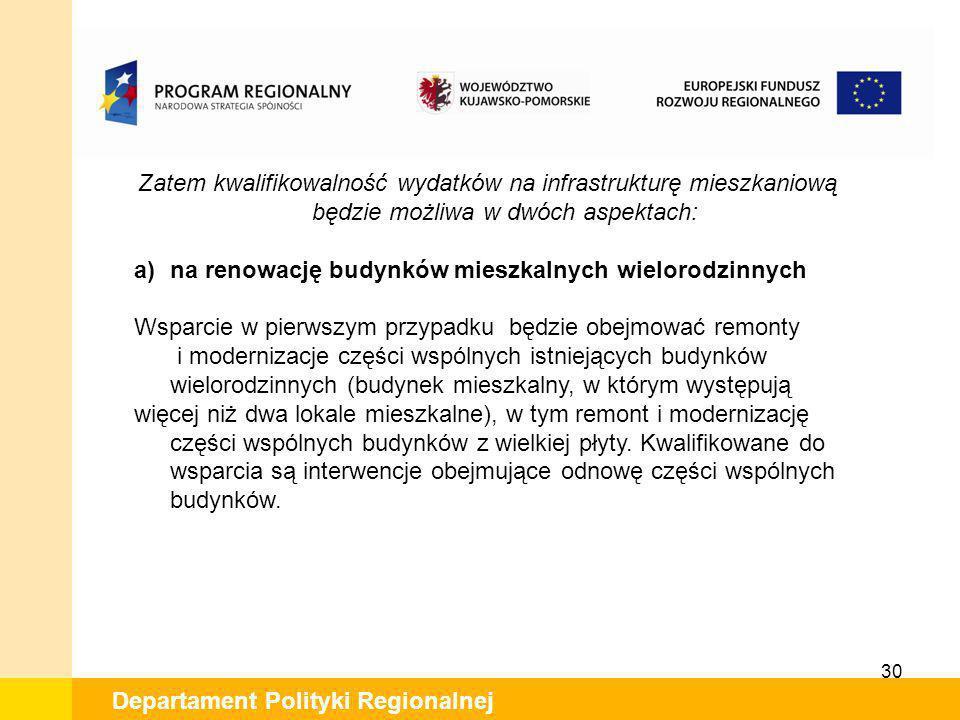 30 Departament Polityki Regionalnej Zatem kwalifikowalność wydatków na infrastrukturę mieszkaniową będzie możliwa w dwóch aspektach: a)na renowację bu