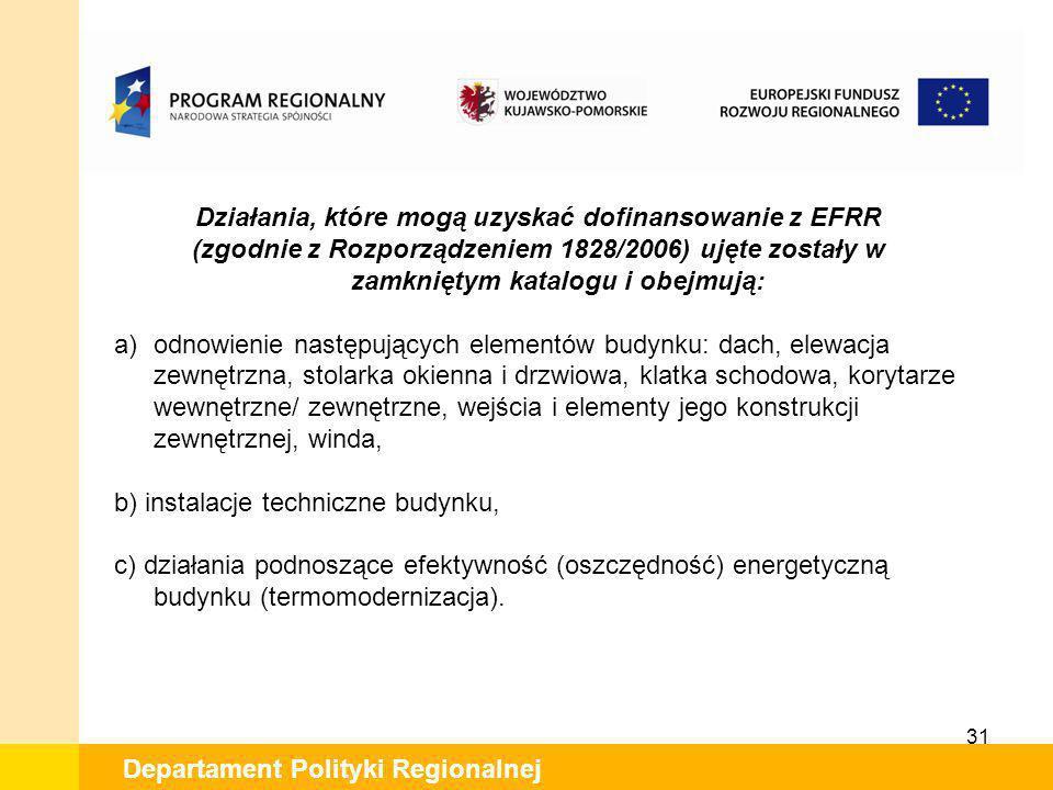 31 Departament Polityki Regionalnej Działania, które mogą uzyskać dofinansowanie z EFRR (zgodnie z Rozporządzeniem 1828/2006) ujęte zostały w zamknięt
