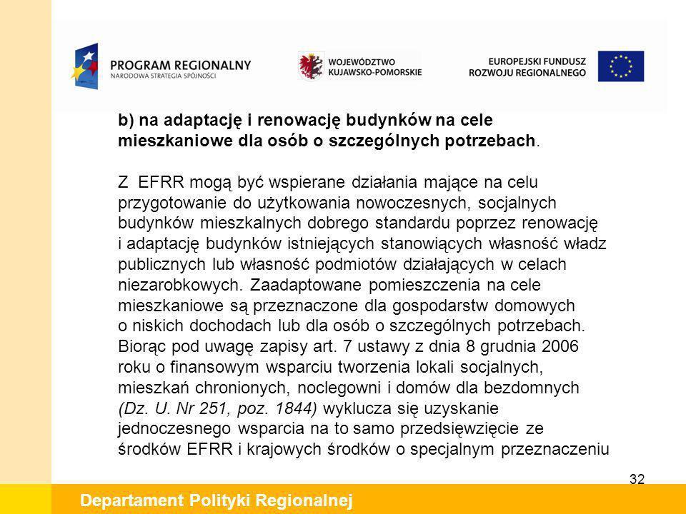 32 Departament Polityki Regionalnej b) na adaptację i renowację budynków na cele mieszkaniowe dla osób o szczególnych potrzebach. Z EFRR mogą być wspi