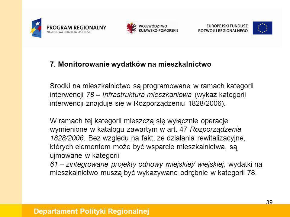39 Departament Polityki Regionalnej 7. Monitorowanie wydatków na mieszkalnictwo Środki na mieszkalnictwo są programowane w ramach kategorii interwencj