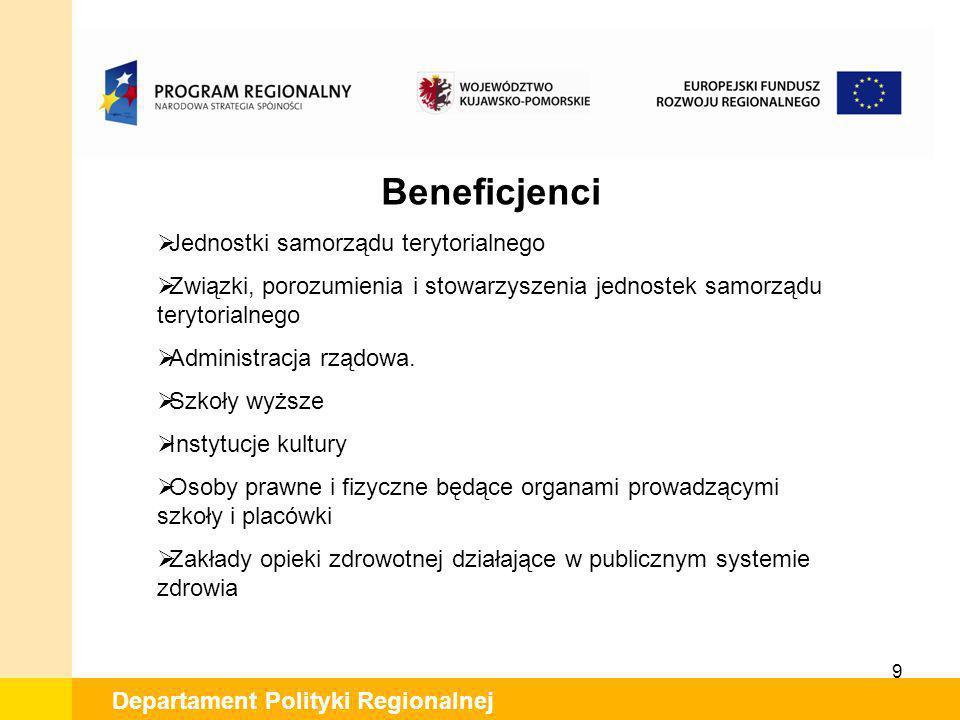 9 Departament Polityki Regionalnej Beneficjenci Jednostki samorządu terytorialnego Związki, porozumienia i stowarzyszenia jednostek samorządu terytori