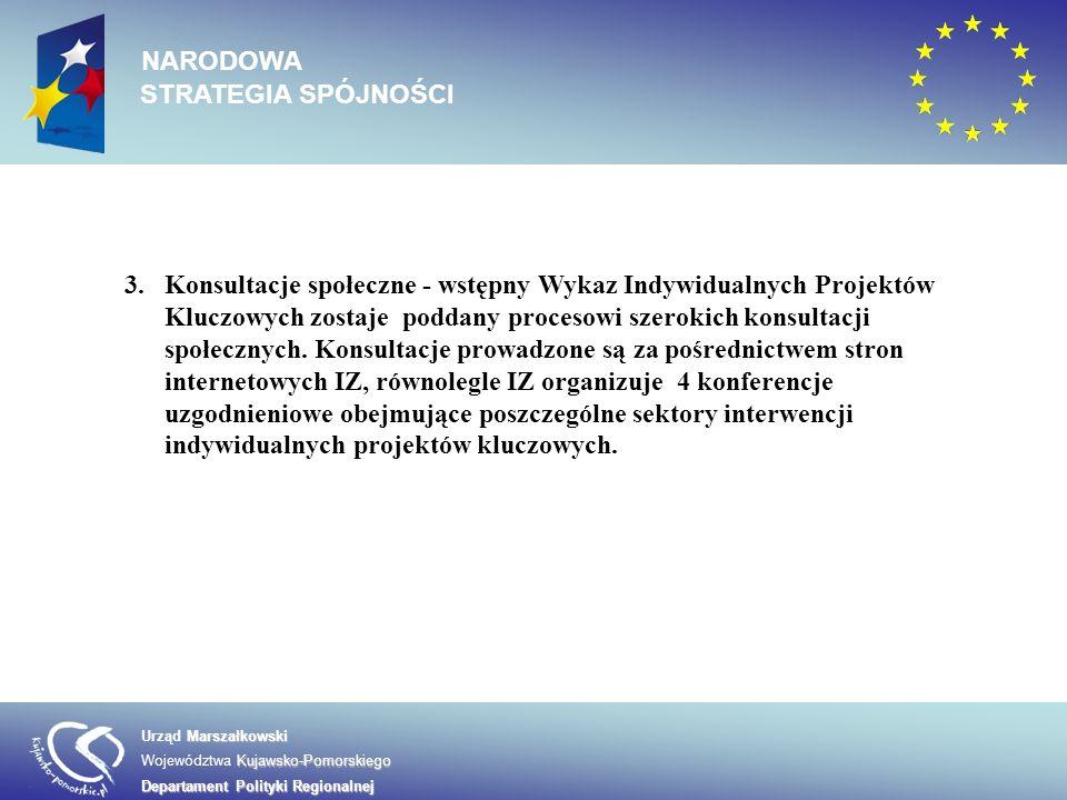 3.Konsultacje społeczne - wstępny Wykaz Indywidualnych Projektów Kluczowych zostaje poddany procesowi szerokich konsultacji społecznych. Konsultacje p
