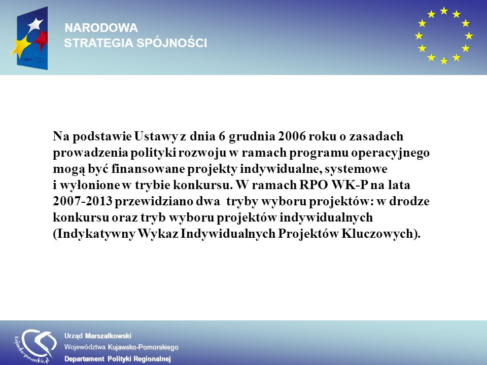 Na podstawie Ustawy z dnia 6 grudnia 2006 roku o zasadach prowadzenia polityki rozwoju w ramach programu operacyjnego mogą być finansowane projekty in