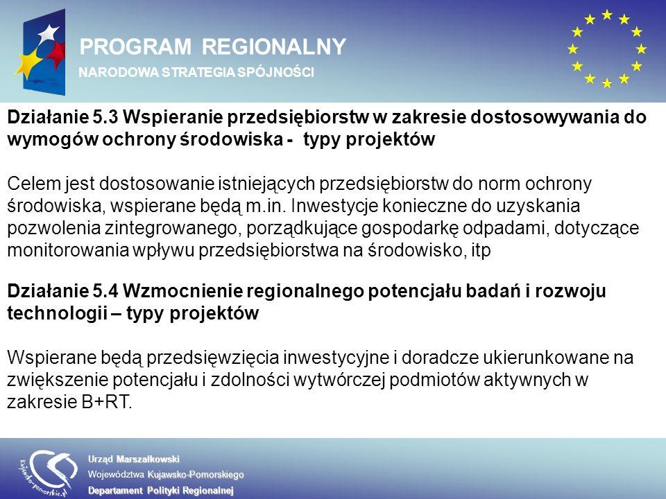Marszałkowski Urząd Marszałkowski Kujawsko-Pomorskiego Województwa Kujawsko-Pomorskiego Departament Polityki Regionalnej PROGRAM REGIONALNY NARODOWA STRATEGIA SPÓJNOŚCI Działanie 5.5 Promocja i rozwój markowych produktów – typy projektów Celem działania jest wzmocnienie pozycji rynkowej przedsiębiorstw, utrwalanie ich marek w obszarze rynku europejskiego, intensyfikacja międzynarodowej współpracy gospodarczej firm Działanie 5.6 Kompleksowe uzbrojenie terenów pod inwestycje Celem działania jest poprawa atrakcyjności lokalizacyjnej regionu dla inwestorów, w tym zagranicznych.