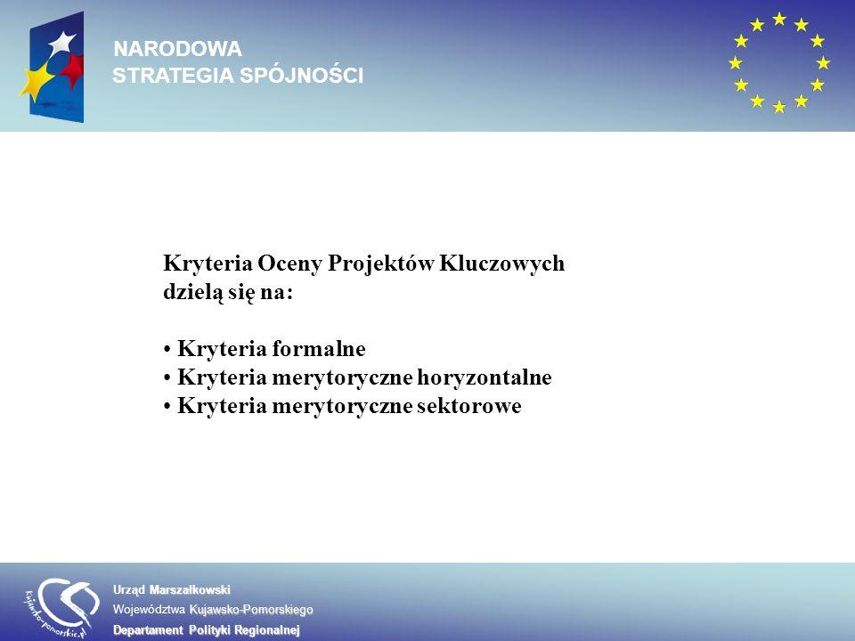 Marszałkowski Urząd Marszałkowski Kujawsko-Pomorskiego Województwa Kujawsko-Pomorskiego Departament Polityki Regionalnej NARODOWA STRATEGIA SPÓJNOŚCI