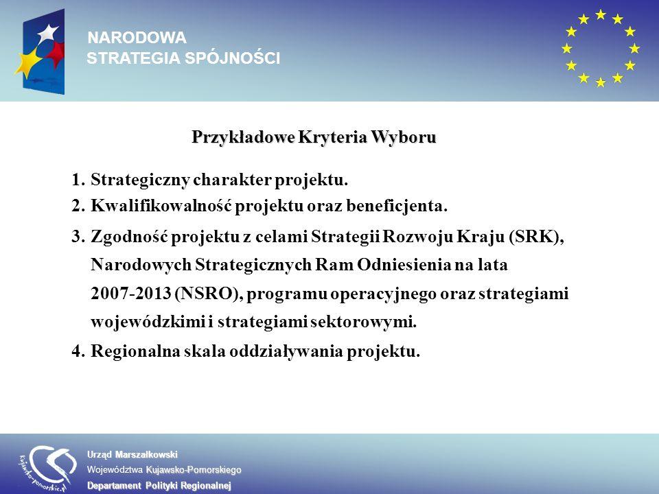 Przykładowe Kryteria Wyboru 1.Strategiczny charakter projektu. 2.Kwalifikowalność projektu oraz beneficjenta. 3.Zgodność projektu z celami Strategii R