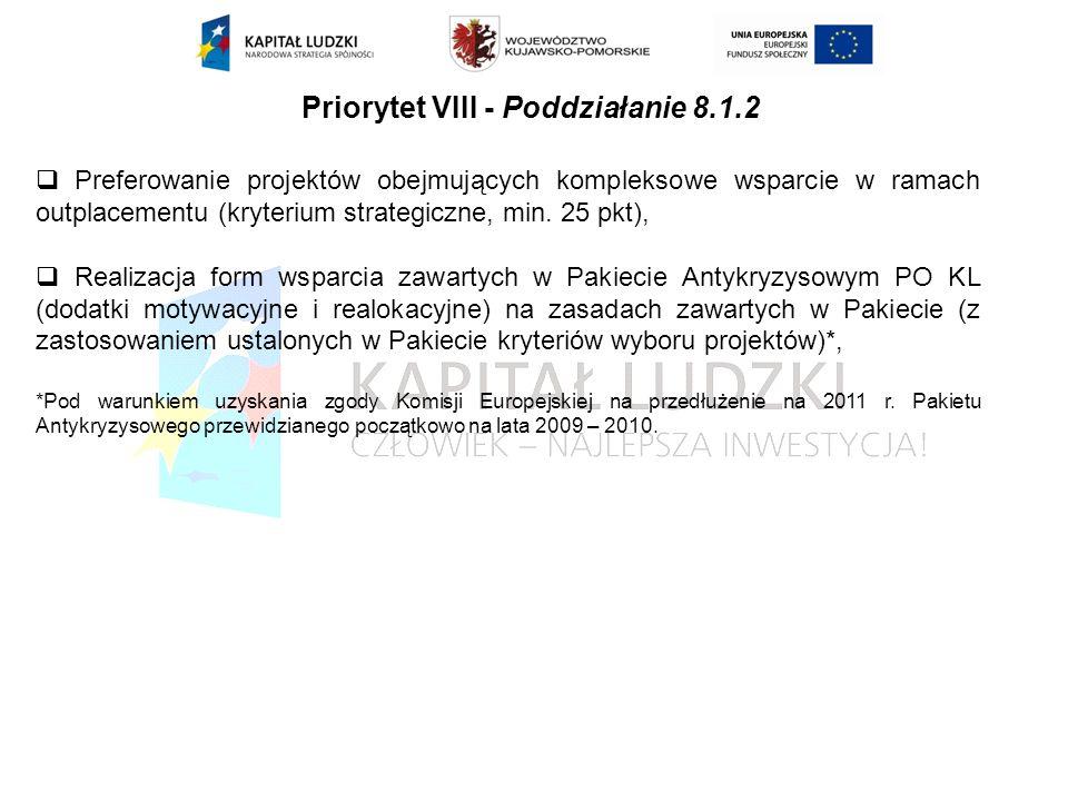 Priorytet VIII - Poddziałanie 8.1.2 Preferowanie projektów obejmujących kompleksowe wsparcie w ramach outplacementu (kryterium strategiczne, min.