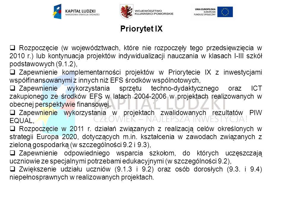 Priorytet IX Rozpoczęcie (w województwach, które nie rozpoczęły tego przedsięwzięcia w 2010 r.) lub kontynuacja projektów indywidualizacji nauczania w klasach I-III szkół podstawowych (9.1.2), Zapewnienie komplementarności projektów w Priorytecie IX z inwestycjami współfinansowanymi z innych niż EFS środków wspólnotowych, Zapewnienie wykorzystania sprzętu techno-dydaktycznego oraz ICT zakupionego ze środków EFS w latach 2004-2006 w projektach realizowanych w obecnej perspektywie finansowej, Zapewnienie wykorzystania w projektach zwalidowanych rezultatów PIW EQUAL, Rozpoczęcie w 2011 r.
