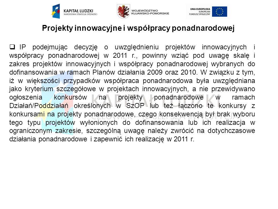 Projekty innowacyjne i współpracy ponadnarodowej IP podejmując decyzję o uwzględnieniu projektów innowacyjnych i współpracy ponadnarodowej w 2011 r., powinny wziąć pod uwagę skalę i zakres projektów innowacyjnych i współpracy ponadnarodowej wybranych do dofinansowania w ramach Planów działania 2009 oraz 2010.
