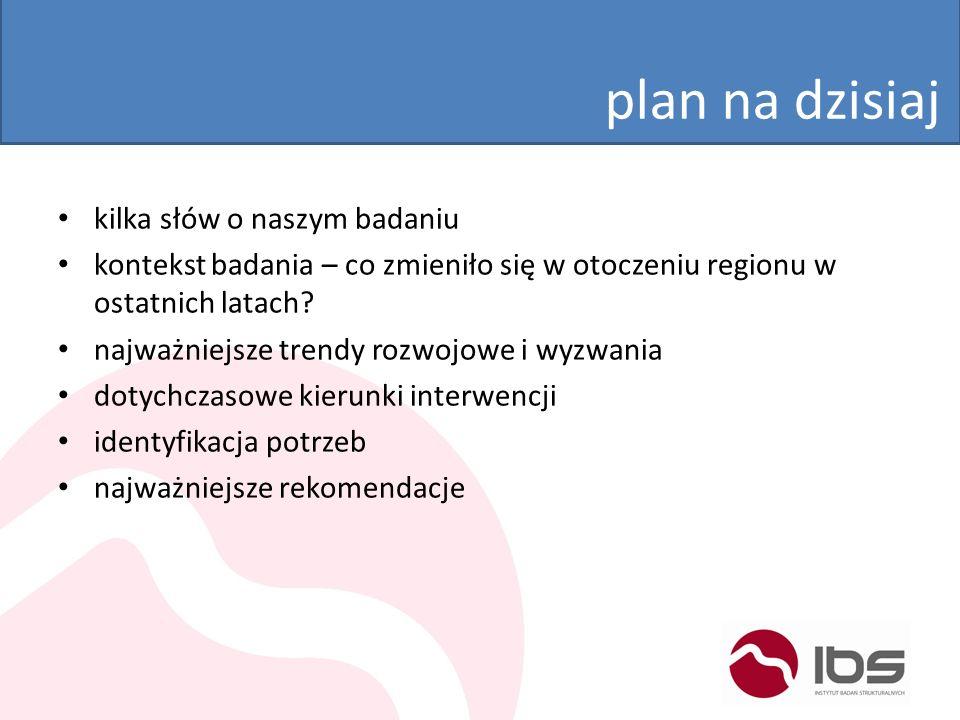 o badaniu stan rozwoju regionu na tle Polski i UEzróżnicowanie wewnętrznedotychczasowe kierunki interwencjigradacja potrzeb rozwojowychokreślenie potencjalnych obszarów wsparcia