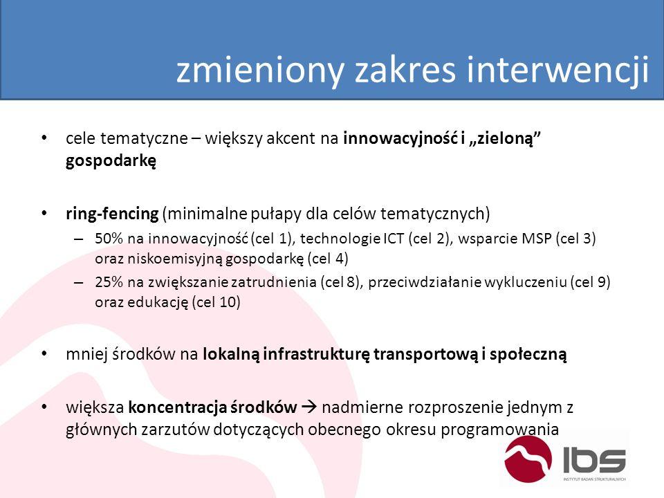 nowa architektura programów kontynuacja regionalnych programów operacyjnych – większa decentralizacja – wsparcie dla EFS i EFRR w ramach jednego programu – po raz pierwszy będzie możliwe zaprogramowanie na poziomie regionu miękkiego komponentu interwencji – najprawdopodobniej: 1 cel tematyczny = 1 oś priorytetowa nowe narzędzia realizacyjne – Zintegrowane inwestycje terytorialne (ZIT) – jeden instrument dla Bydgoszczy i Torunia – Rozwój lokalny kreowany przez społeczność (RLKS) – kontrakt terytorialny (KT)