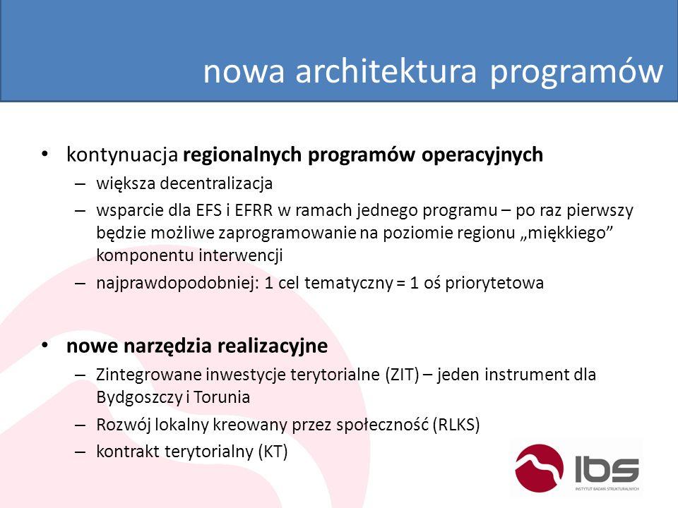 nowa architektura programów kontynuacja regionalnych programów operacyjnych – większa decentralizacja – wsparcie dla EFS i EFRR w ramach jednego progr