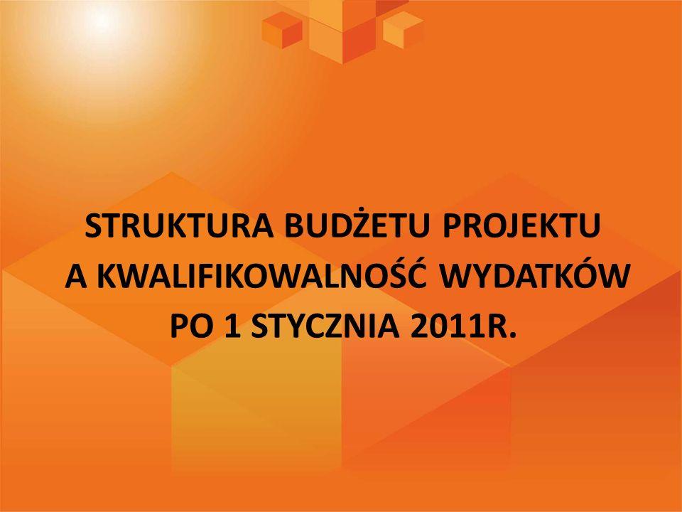 STRUKTURA BUDŻETU PROJEKTU A KWALIFIKOWALNOŚĆ WYDATKÓW PO 1 STYCZNIA 2011R.