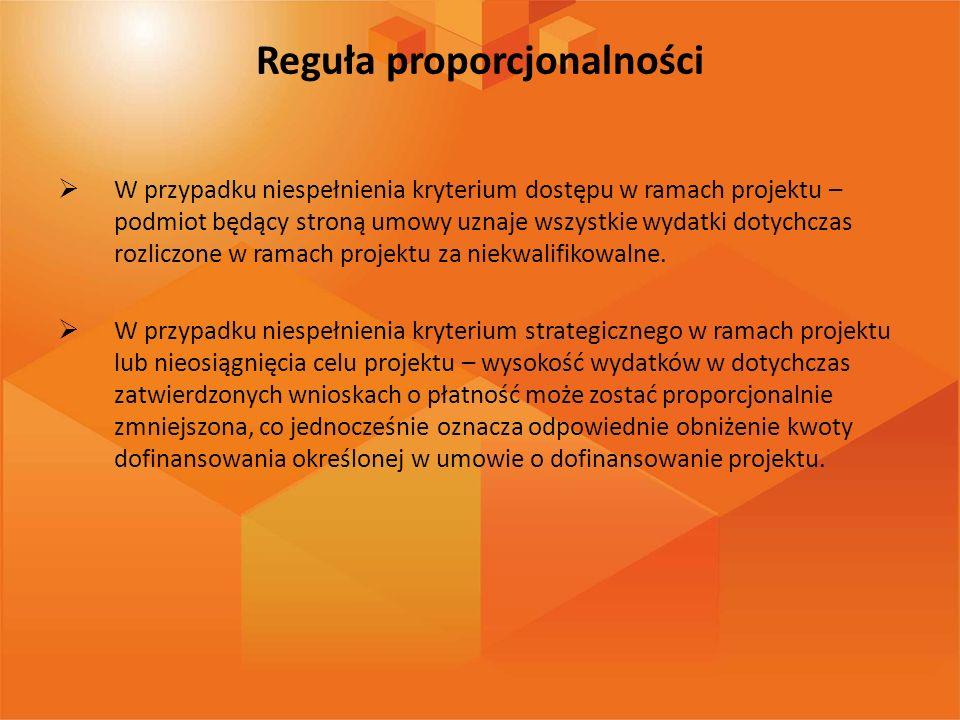 Reguła proporcjonalności W przypadku niespełnienia kryterium dostępu w ramach projektu – podmiot będący stroną umowy uznaje wszystkie wydatki dotychcz