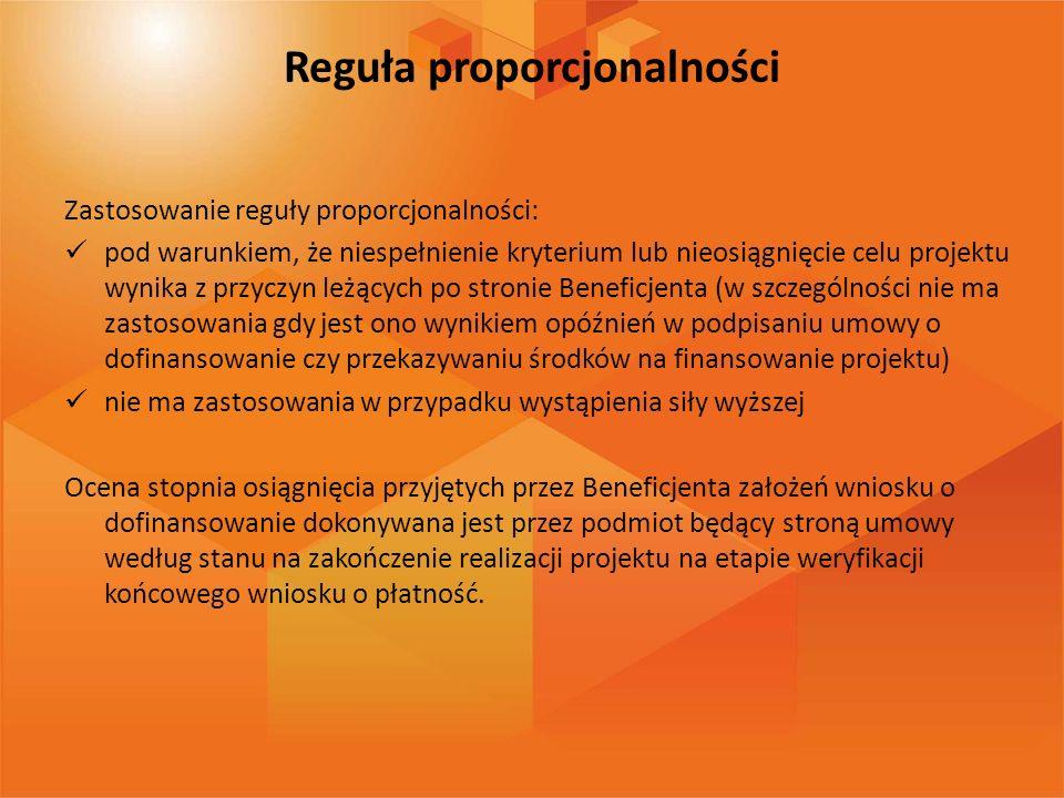 Reguła proporcjonalności Zastosowanie reguły proporcjonalności: pod warunkiem, że niespełnienie kryterium lub nieosiągnięcie celu projektu wynika z pr