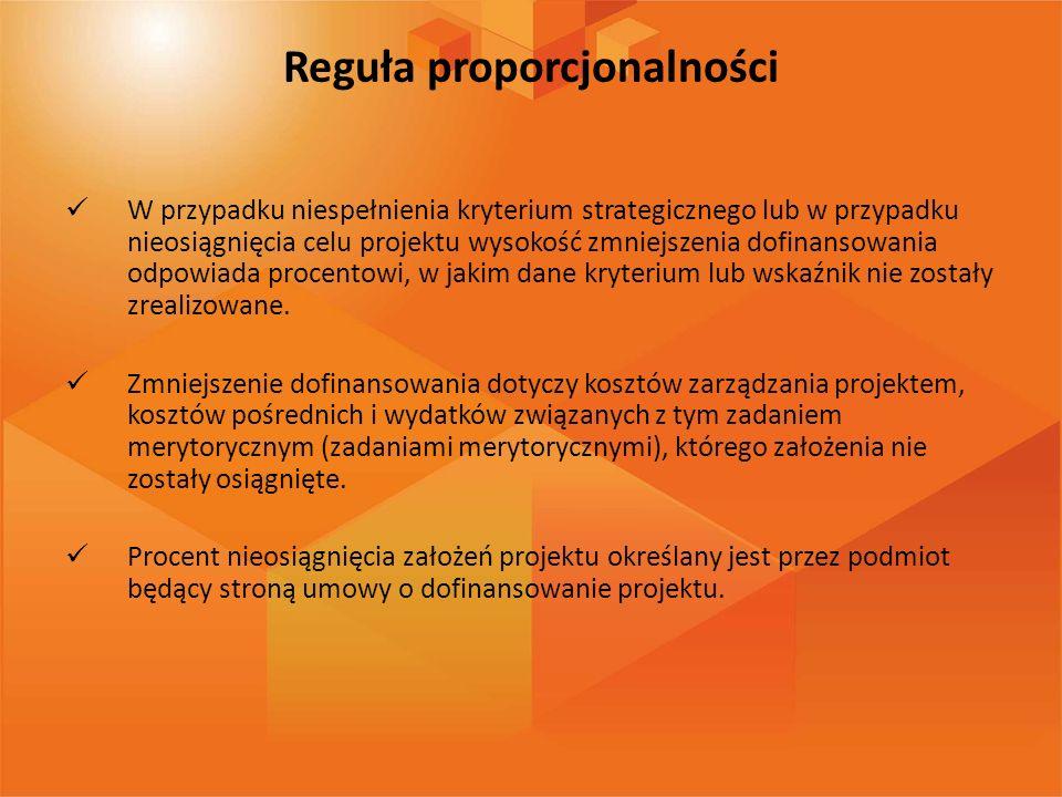Reguła proporcjonalności W przypadku niespełnienia kryterium strategicznego lub w przypadku nieosiągnięcia celu projektu wysokość zmniejszenia dofinan