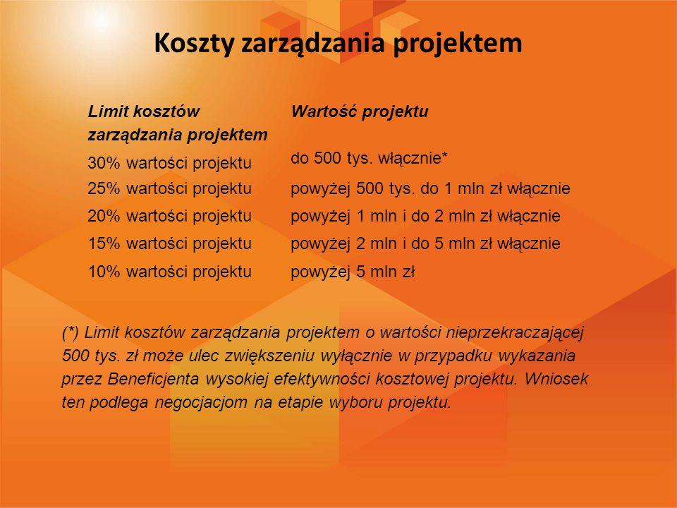 Koszty zarządzania projektem Limit kosztów zarządzania projektem Wartość projektu 30% wartości projektu do 500 tys. włącznie* 25% wartości projektupow