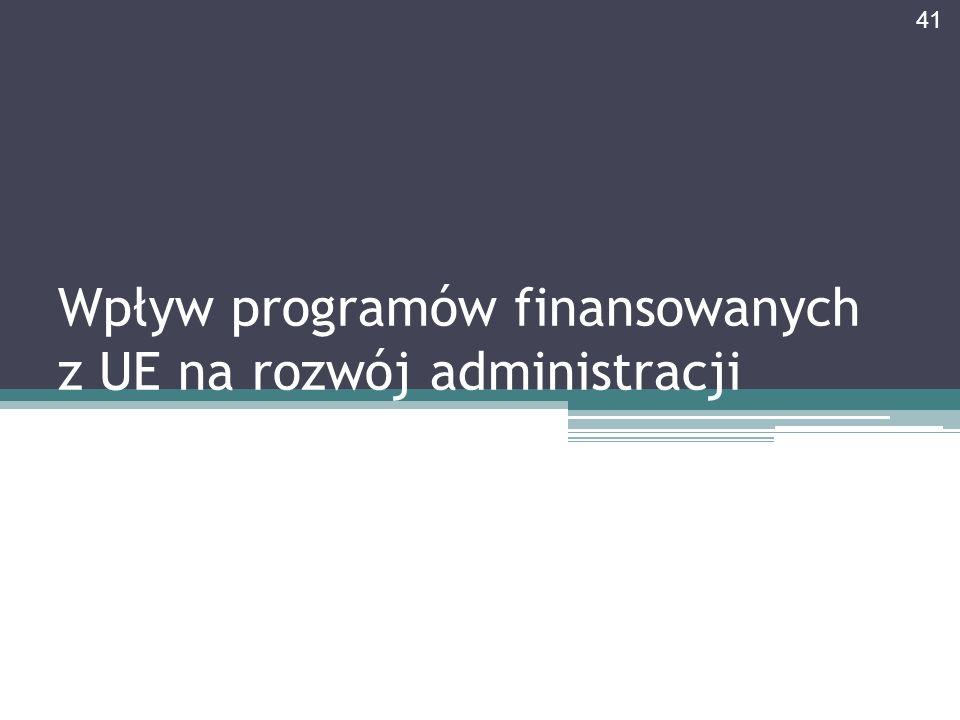 Wpływ programów finansowanych z UE na rozwój administracji 41