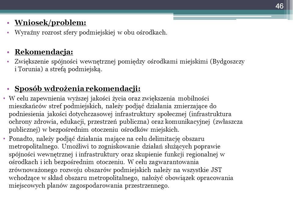 46 Wniosek/problem: Wyraźny rozrost sfery podmiejskiej w obu ośrodkach. Rekomendacja: Zwiększenie spójności wewnętrznej pomiędzy ośrodkami miejskimi (