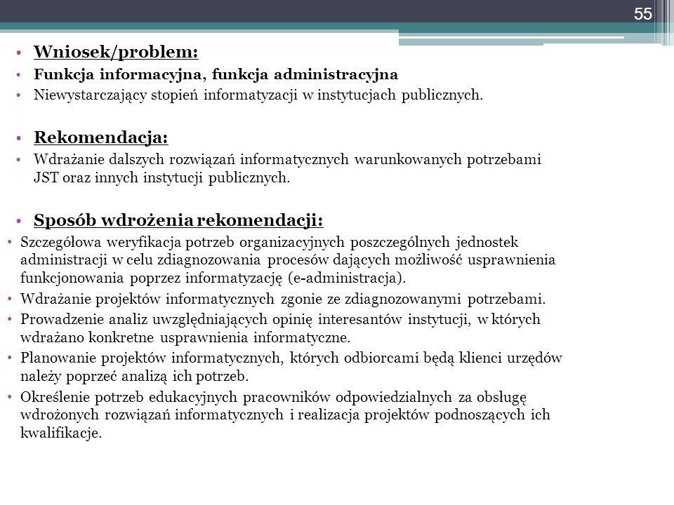 55 Wniosek/problem: Funkcja informacyjna, funkcja administracyjna Niewystarczający stopień informatyzacji w instytucjach publicznych. Rekomendacja: Wd