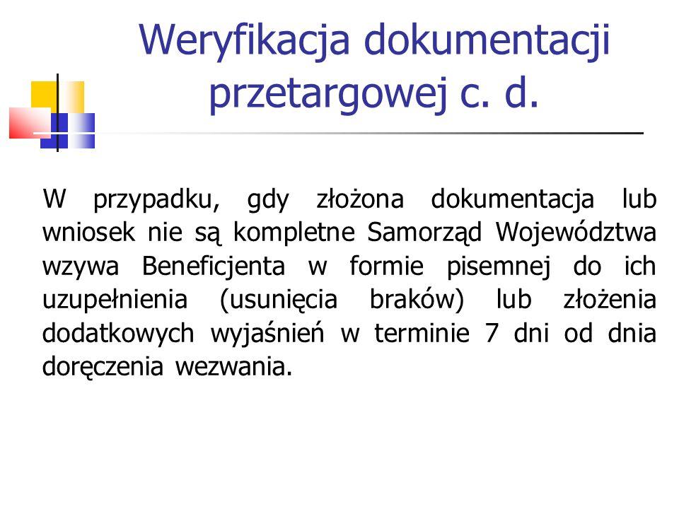 Weryfikacja dokumentacji przetargowej c.d.