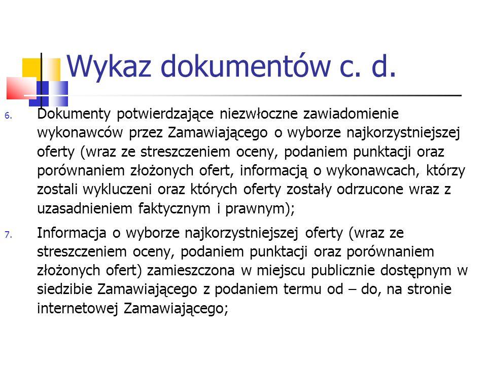 Wykaz dokumentów c.d. 8.