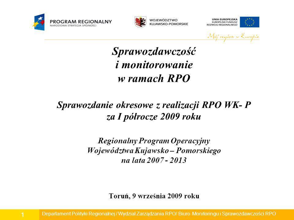 Departament Polityki Regionalnej/ Wydział Zarządzania RPO/ Biuro Monitoringu i Sprawozdawczości RPO 32 Dziękuję Państwu za uwagę Urząd Marszałkowski Województwa Kujawsko-Pomorskiego Departament Polityki Regionalnej