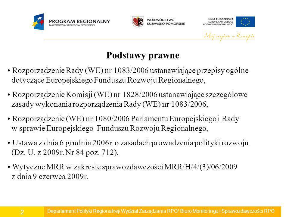 Departament Polityki Regionalnej/ Wydział Zarządzania RPO/ Biuro Monitoringu i Sprawozdawczości RPO 3 Sprawozdawczość odbywa się systematycznie i terminowo przez cały okres programowania.