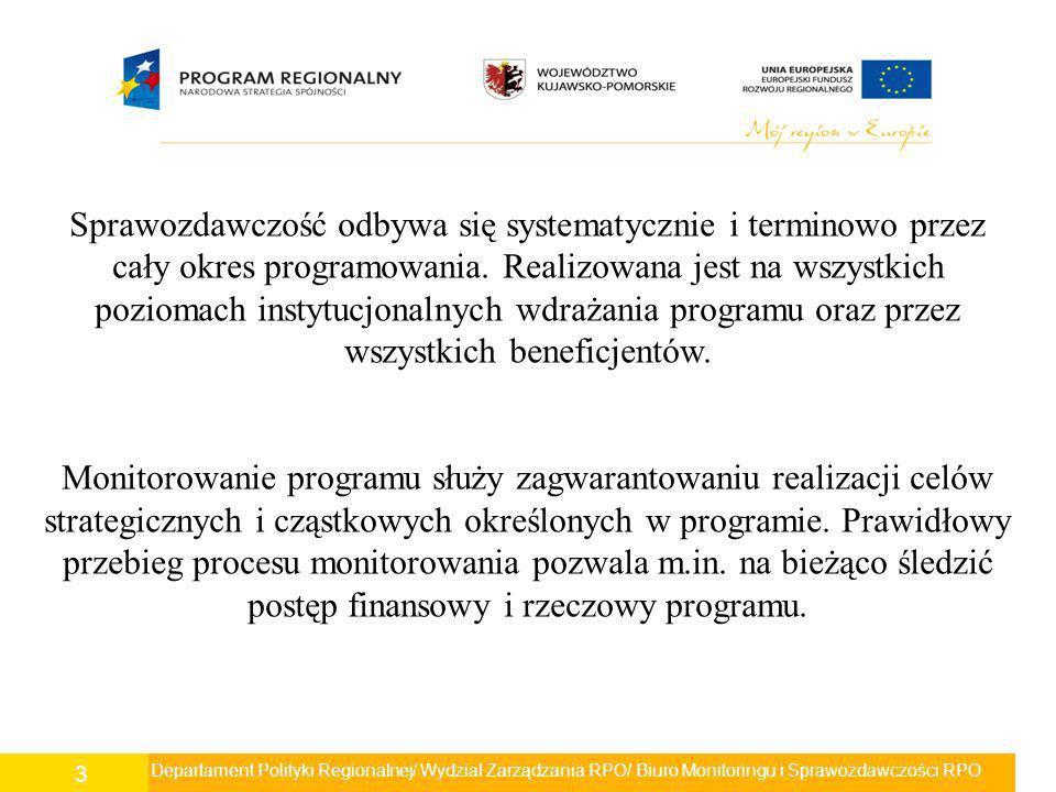 Departament Polityki Regionalnej/ Wydział Zarządzania RPO/ Biuro Monitoringu i Sprawozdawczości RPO 4 Zgodnie z wytycznymi Ministerstwa Rozwoju Regionalnego MRR/H/4(3)06/2009 w zakresie sprawozdawczości z dnia 9 czerwca 2009 roku na Instytucje Zarządzające RPO został nałożony obowiązek sprawozdawczości, który obejmuje zbieranie informacji dotyczących realizacji programu operacyjnego z uwzględnieniem działań/grup operacji, osi priorytetowych, w postaci danych liczbowych, finansowych, w tym wskaźników rzeczowych i finansowych.
